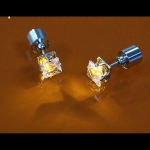 Yellow Square Bling LED Light Up Earrings